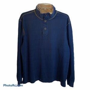 Orvis Men's blue 3 button long sleeve shirt